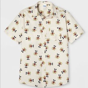 Men's Mickey Mouse Short Sleeve Button-Down